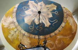 Decorative painted Motif Over Venetian Plaster