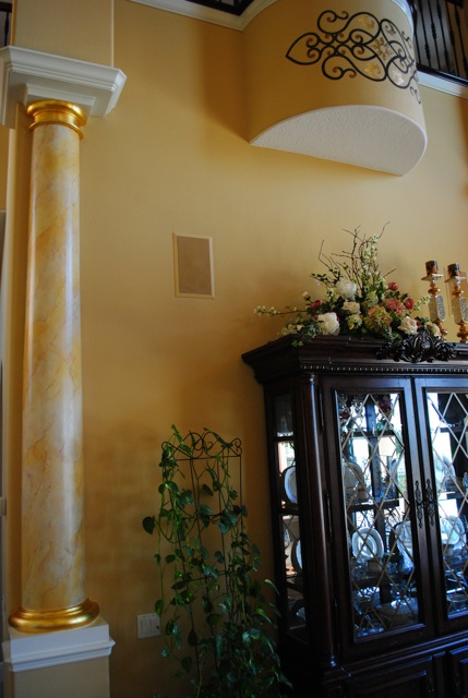 Marbleized Columns with Gold Leaf & Decorative Painting Marble