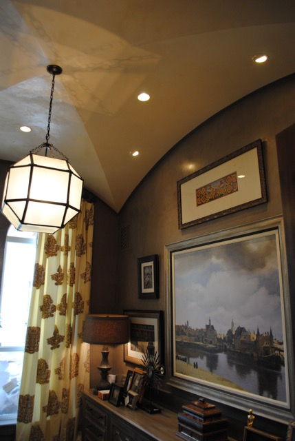 Decorative Painted Motif Over Venetian Plaster