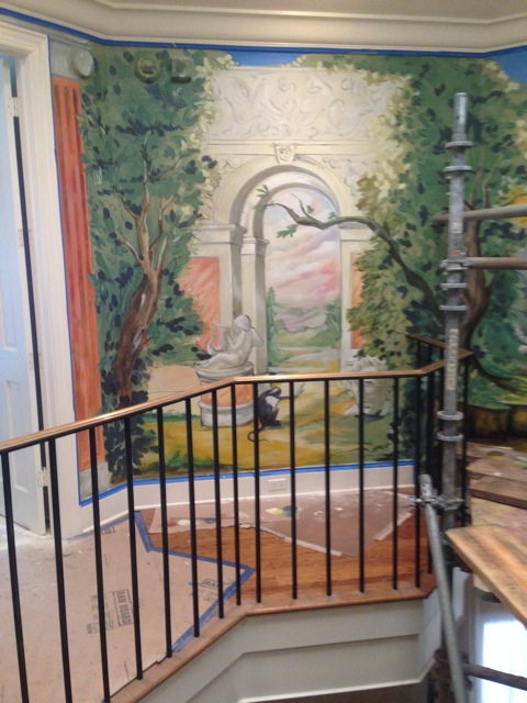 Classical Mural in Progress - Upstairs Rotunda Landing