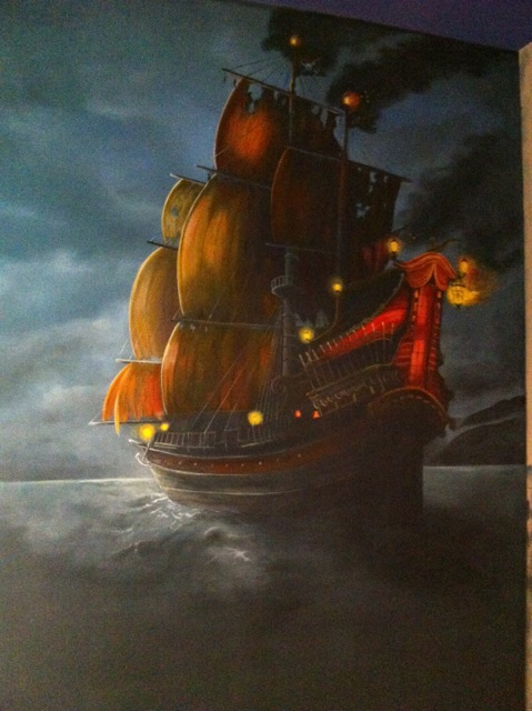 Pirates Of The Caribbean Pirate Ship Mural - Theater Room